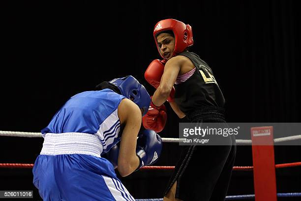Ramla Ali in action against Chloe Jade Pearce in their 54kg fight during day one of the Boxing Elite National Championships at Echo Arena on April 29...