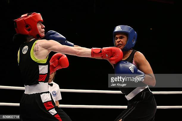 Ramla Ali in action against Rachael Mackenzie in their 54kg final bout during day three of the Boxing Elite National Championships at Echo Arena on...