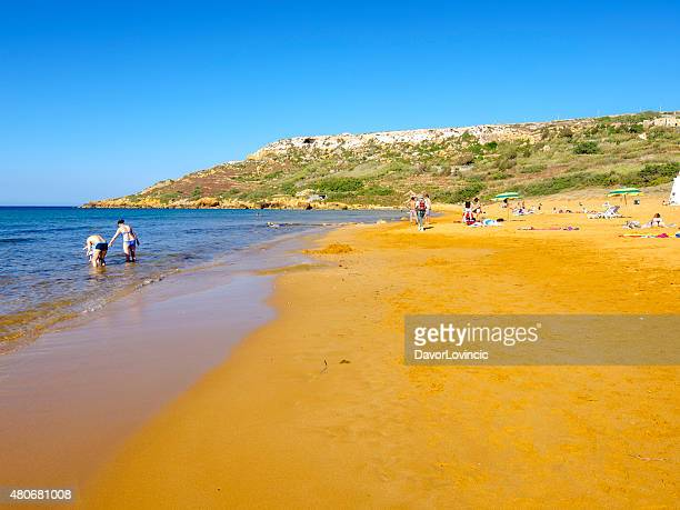 Ramla bay a golden reddish beach on Gozo, Malta