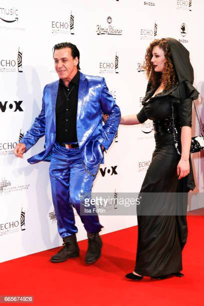 Rammstein singer Till Lindemann and model Leila Lowfire during the Echo award red carpet on April 6 2017 in Berlin Germany