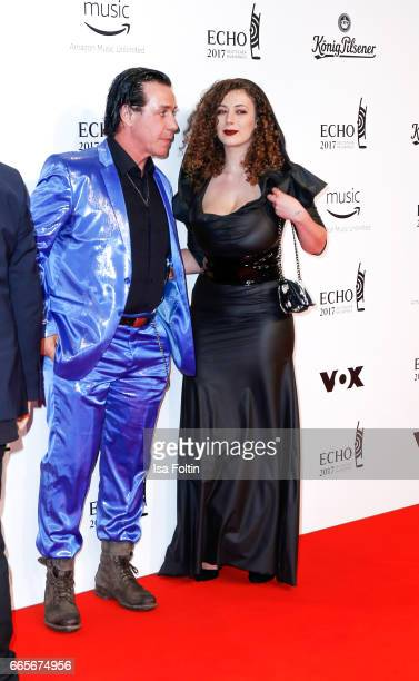 Rammstein singer Till Lindemann and model Leila Lowfire during the Echo award red carpet on April 6, 2017 in Berlin, Germany.