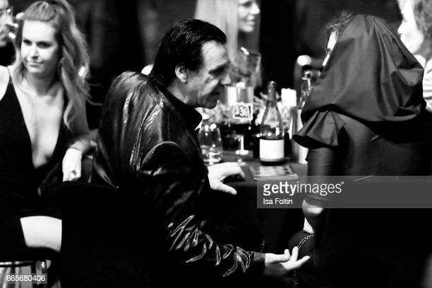 Rammstein singer Till Lindemann and model Leila Lowfire during the Echo Award 2017 - Show on April 6, 2017 in Berlin, Germany.