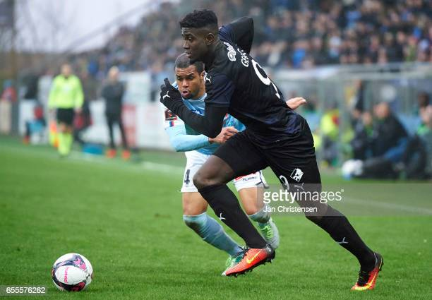 Ramón Rodrígues of SonderjyskE and Mayron George of Randers FC compete for the ball during the Danish Alka Superliga match between SonderjyskE and...