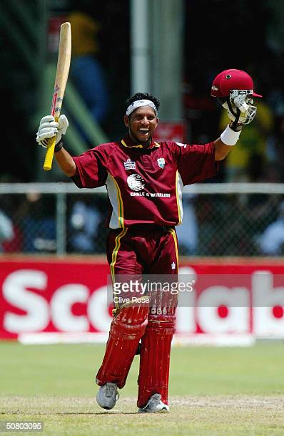 Ramnaresh Sarwan celebrates his century during the 7th One Day International at the Kensington Oval, on May 5 in Bridgetown, Barbados.
