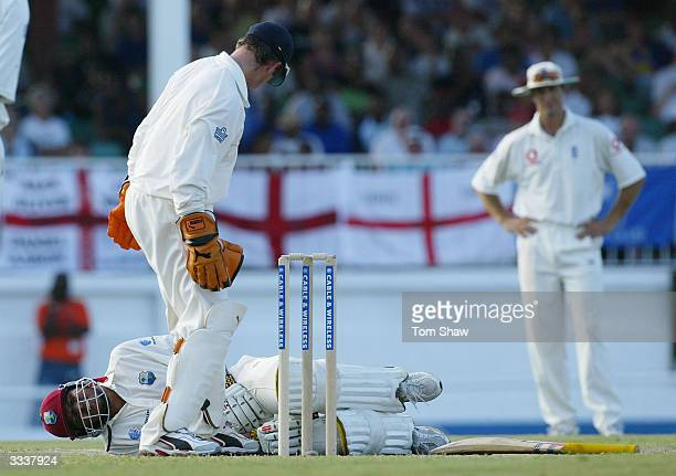 Ramnaresh Sarwan of the West Indies in agony after being hit in the testicles during day one of the 4th Test match between the West Indies and...