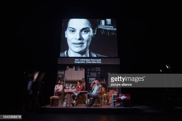 Ramo Ali Rami Khalaf Maia Morgenstern and Akillas Karazissis rehearsing a scene from the play 'Empire' at the Schaubuehne theatre in Berlin Germany 7...