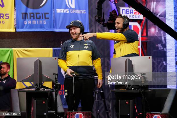 Ramo and Lord Beezus of Pacers Gaming reacts during the game against Heat Check Gaming during Week 5 of the NBA 2K League regular season on May 15...