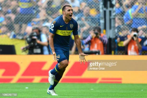 Ramon Abila of Boca Juniors celebrates after scoring the first goal of his team during the first leg match between Boca Juniors and River Plate as...