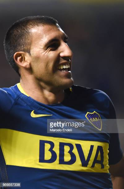 Ramon Abila of Boca Juniors celebrates after scoring the third goal of his team during a match between Boca Juniors and Alianza Lima at Alberto J...