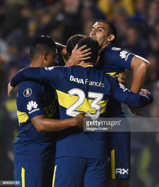 Ramon Abila of Boca Juniors celebrates with teammates after scoring the fourth goal of his team during a match between Boca Juniors and Alianza Lima...