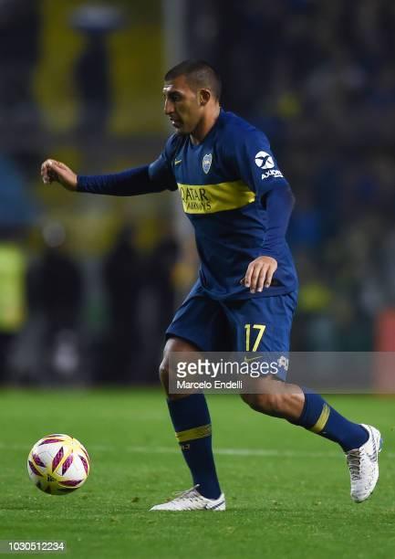 Ramon Abila of Boca Juniors drives the ball during a match between Boca Juniors and Velez as part of Superliga Argentina 2018/19 at Estadio Alberto J...