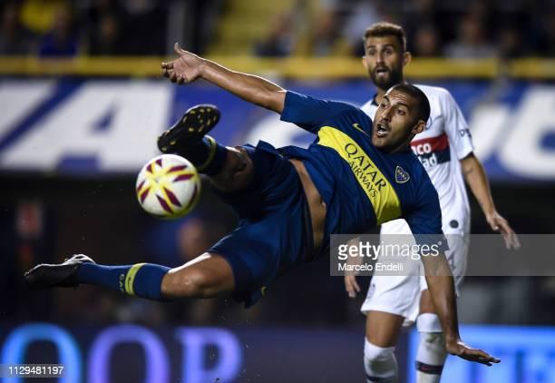 Ramon Abila of Boca Juniors kicks the ball during a match between Boca Juniors and San Lorenzo as part of Superliga 2018/19 at Estadio Alberto J...