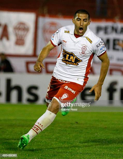 Ramon Abila of Huracan celebrates after scoring the opening goal during a match between Huracan and Defensor Sporting as part of Quarter Finals of...