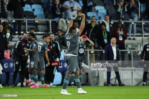 Ramon Abila of Minnesota United celebrates after scoring a goal against Vancouver Whitecaps in the second half of game at Allianz Field on May 12,...