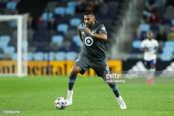 Ramon Abila of Minnesota United dribbles the ball against Vancouver Whitecaps in the second half of game at Allianz Field on May 12, 2021 in St Paul,...