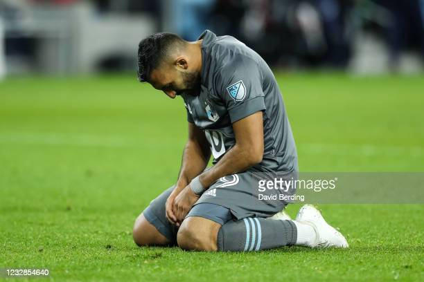 Ramon Abila of Minnesota United reacts after missing an attempt against Vancouver Whitecaps in the second half of game at Allianz Field on May 12,...