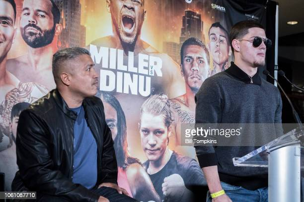 Ramon Alvarez announces his upcoming Welterweight fight against Brandon Rios during the press conference at Madison Square Garden on October 27, 2018...