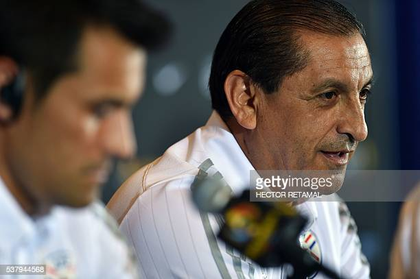Ramon Angel Diaz coach of the Paraguay's men's soccer team and Justo Villar speak during a press conference at Camping World Stadium in Orlando...