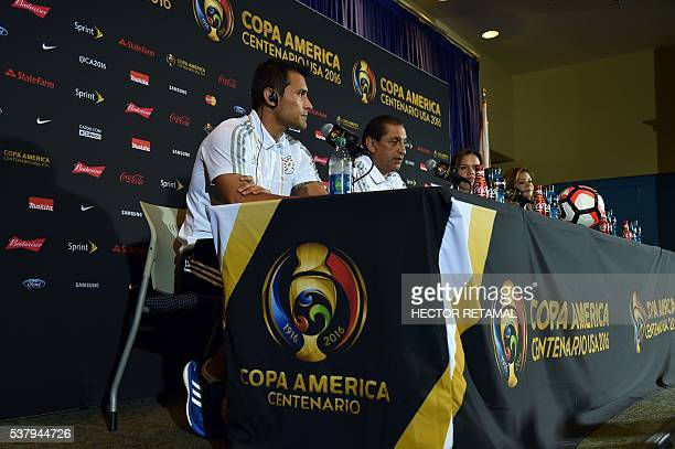 Ramon Angel Diaz coach of the Paraguay's men's soccer team and Justo Villar speak during a press conference to the media at Camping World Stadium in...
