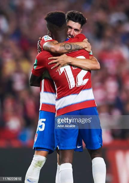 Ramon Azeez of Granada CF and Carlos Neva of Granada CF celebrates after wining the match during the Liga match between Granada CF and FC Barcelona...