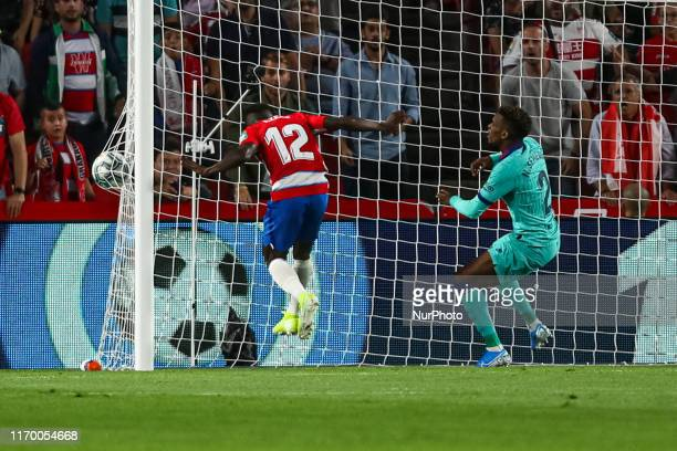 Ramon Azeez of Granada CF scores during the La Liga match between Granada CF and FC Barcelona at Nuevo Los Carmenes Stadium on September 21 2019 in...