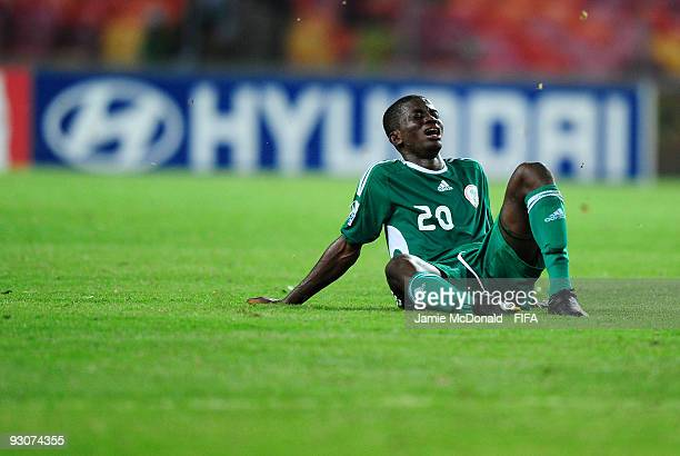 Ramon Azeez of Nigeria looks dejected after defeat in the FIFA U17 World Cup Final match between Switzerland and Nigeria at the Abuja National...