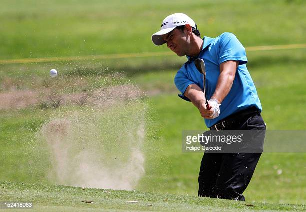 Ramon Bescansa of Spain plays a shot at hole during the opening day of the 65th Arturo Calle Colombian Open at El Rincón de Cajica golf club on...