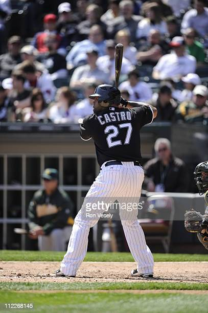 Ramon Castro of the Chicago White Sox bats against the Oakland Athletics on April 13 2011 at US Cellular Field in Chicago Illinois The Athletics...