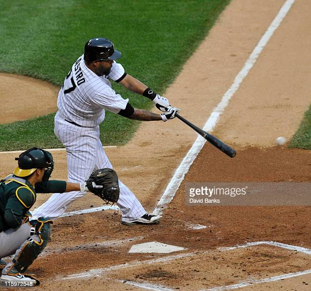 Ramon Castro of the Chicago White Sox bats against the Oakland Athletics on June 11 2011 at US Cellular Field in Chicago Illinois