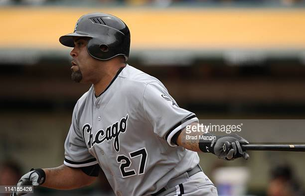 Ramon Castro of the Chicago White Sox bats against the Oakland Athletics during the game at the OaklandAlameda County Coliseum on May 14 2011 in...