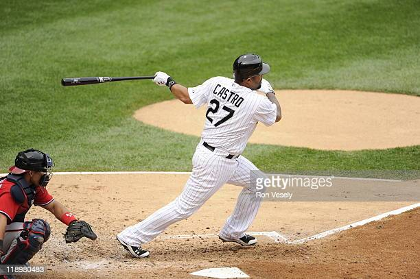 Ramon Castro of the Chicago White Sox bats against the Washington Nationals on June 25 2011 at US Cellular Field in Chicago Illinois The White Sox...