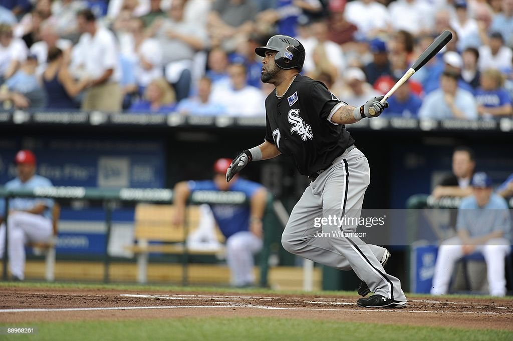 Ramon Castro of the Chicago White Sox bats and runs to first base from the batter's box during the game against the Kansas City Royals at Kauffman Stadium in Kansas City, Missouri on Saturday, July 4, 2009. The Royals defeated the White Sox 6-4.