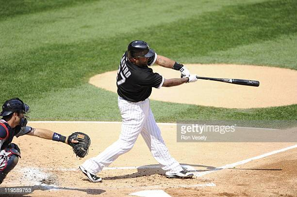 Ramon Castro of the Chicago White Sox bats during the game against the Minnesota Twins on July 9 2011 at US Cellular Field in Chicago Illinois The...