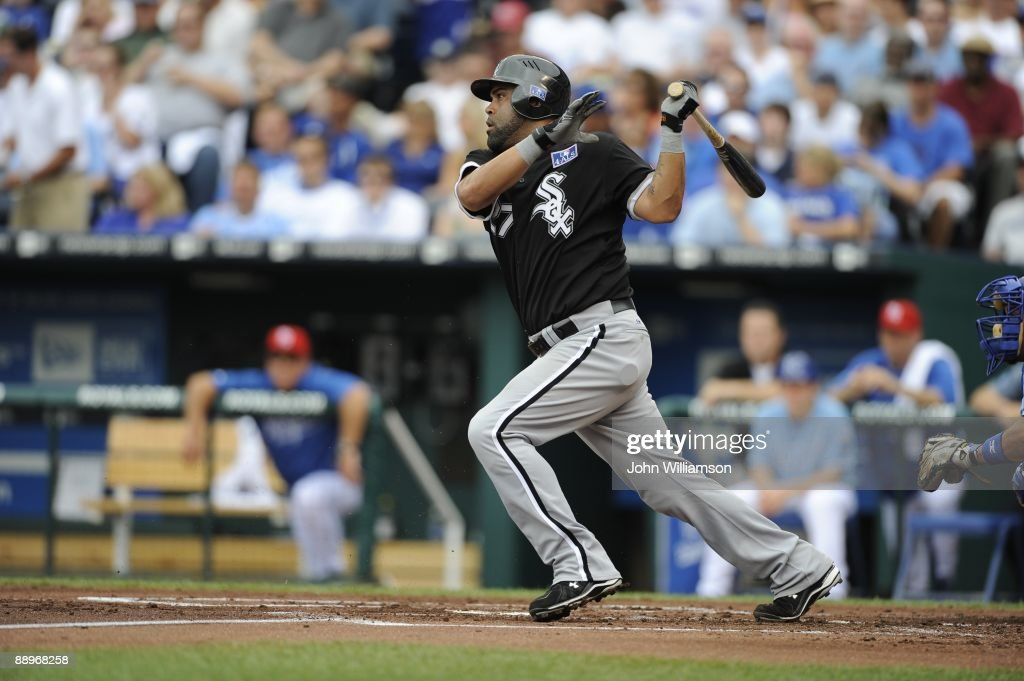 Ramon Castro of the Chicago White Sox bats during the game against the Kansas City Royals at Kauffman Stadium in Kansas City, Missouri on Saturday, July 4, 2009. The Royals defeated the White Sox 6-4.