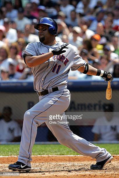 Ramon Castro of the New York Mets singles on a line drive to left to score David Wright in the 4th inning against the New York Yankees at Yankee...