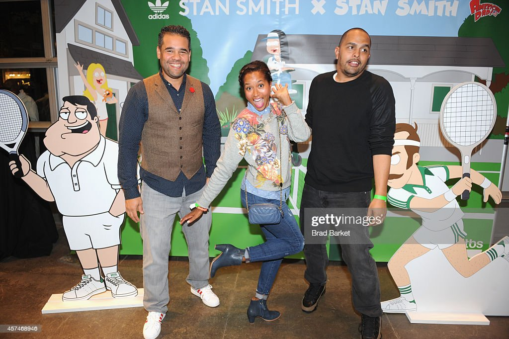 Ramon Cortes (L) and Maria Taylor (C) attend the American Dad Sneaker Launch at the Adidas Originals Store on October 18, 2014 in New York City. 25167_001_0182.JPG