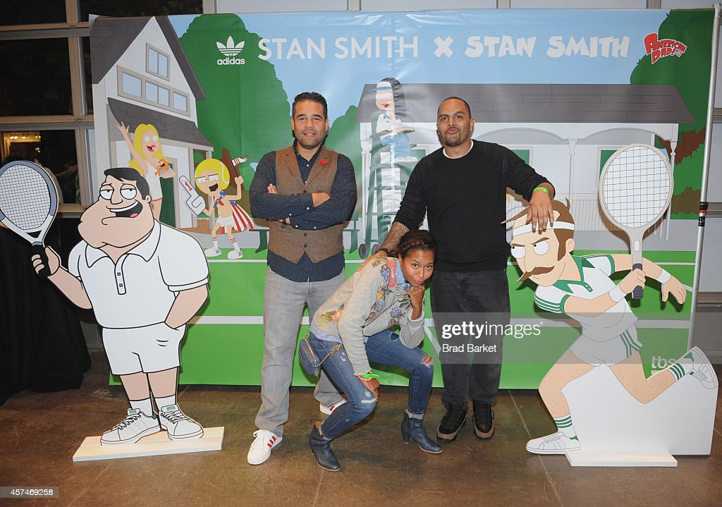 Ramon Cortes (L) and Maria Taylor (C) attend the American Dad Sneaker Launch at the Adidas Originals Store on October 18, 2014 in New York City. 25167_001_0180.JPG