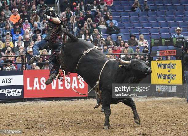 Ramon de Lima is thrown from the bull Quick Fire during the Professional Bullriders Mason Lowe Memorial on February 16 at Enterprise Center St Louis...