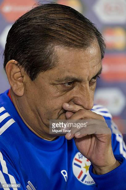 Ramon Diaz coach of Paraguay gestures during a press conference at Alcaldesa Ester Roa Rebolledo Municipal Stadium on June 29 2015 in Concepcion...