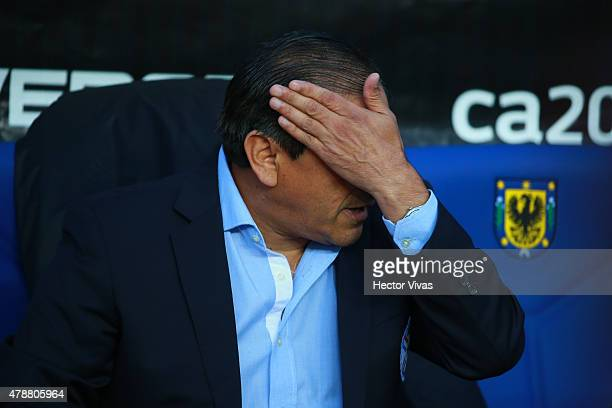 Ramon Diaz coach of Paraguay gestures during the 2015 Copa America Chile quarter final match between Brazil and Paraguay at Ester Roa Rebolledo...