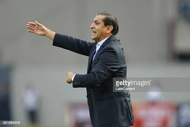 Ramon Diaz coach of Paraguay gives instructions to his players during a match between Venezuela and Paraguay as part of FIFA 2018 World Cup Qualifier...