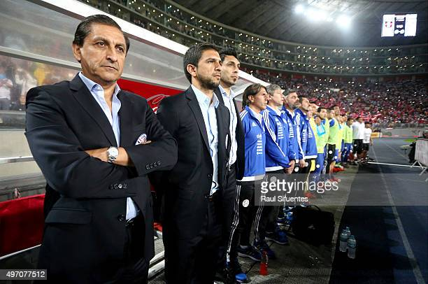 Ramon Diaz coach of Paraguay looks on prior a match between Peru and Paraguay as part of FIFA 2018 World Cup Qualifiers at Nacional Stadium on...