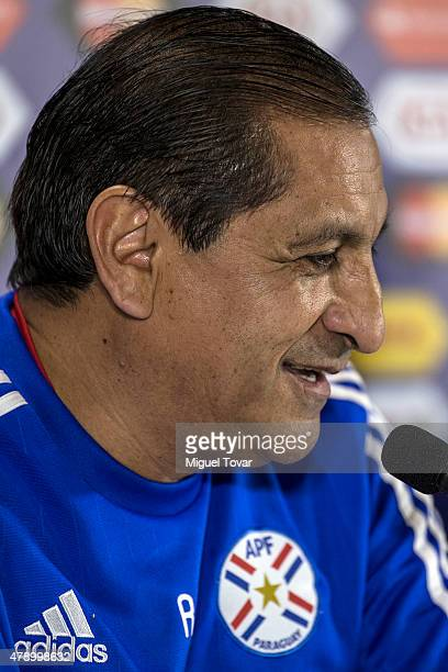 Ramon Diaz coach of Paraguay talks during a press conference at Alcaldesa Ester Roa Rebolledo Municipal Stadium on June 29 2015 in Concepcion Chile...