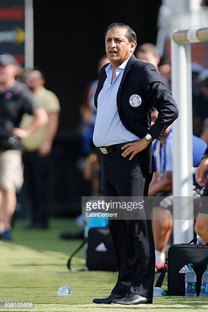 Ramon Diaz head coach of Paraguay watches the actions from the sideline during a group A match between Costa Rica and Paraguay at Camping World...