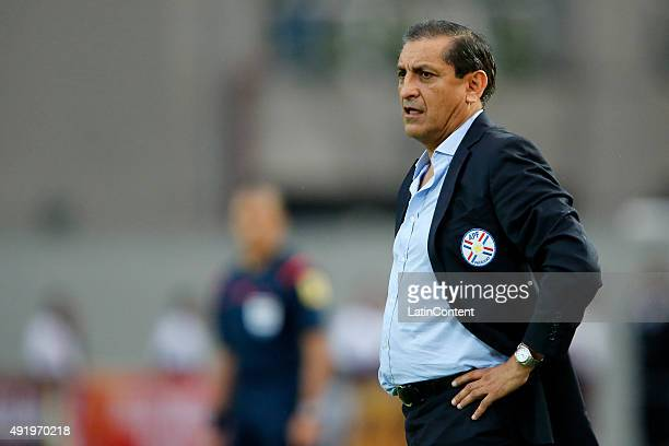 Ramon Diaz of Paraguay looks on during a match between Venezuela and Paraguay as part of FIFA 2018 World Cup Qualifier at Cachamay Stadium on October...