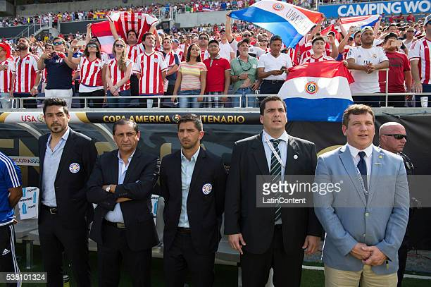 Ramon Diaz poses during the national anthem before a group A match between Costa Rica and Paraguay at Camping World Stadium as part of Copa America...