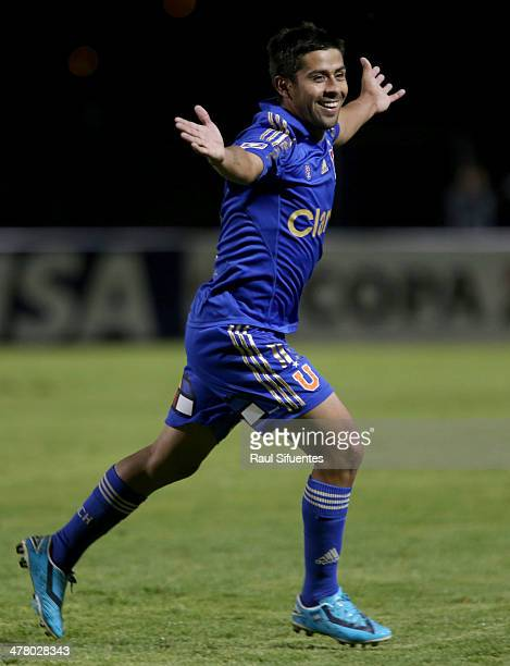 Ramon Fernandez of U de Chile celebrates after scoring his team's first goal during a match between Real Garcilaso and U de Chile as part of round 3...