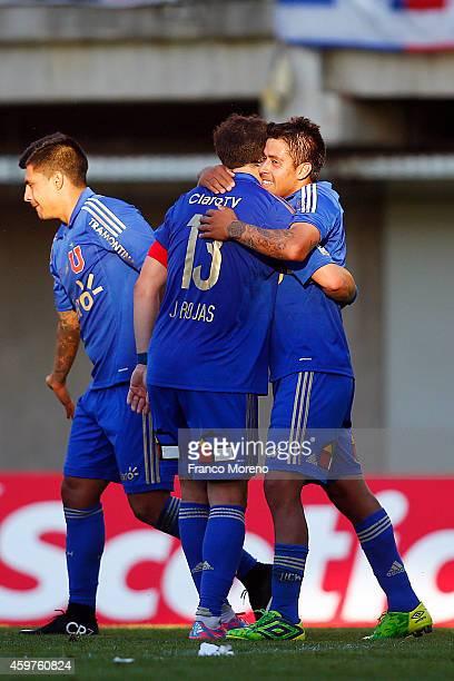 Ramon Fernandez of Universidad de Chile celebrates the third goal against Ñublense during a match between Nublense and Universidad de Chile as a part...
