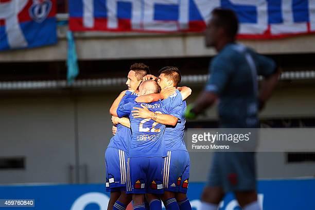 Ramon Fernandez of Universidad de Chile celebrates the third goal against Nublense during a match between Nublense and Universidad de Chile as a part...