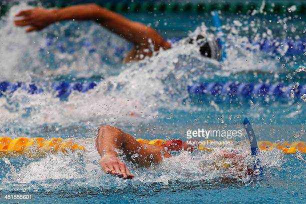 Ramon Figarella of Venezuela competes in 100 mts Finswimming as part of the XVII Bolivarian Games Trujillo 2013 at pools complex of Mansiche Stadium...